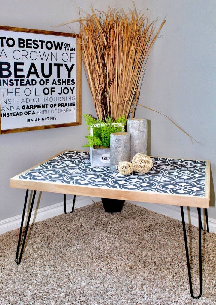 Hairpin Coffee Table With Stenciled Tile