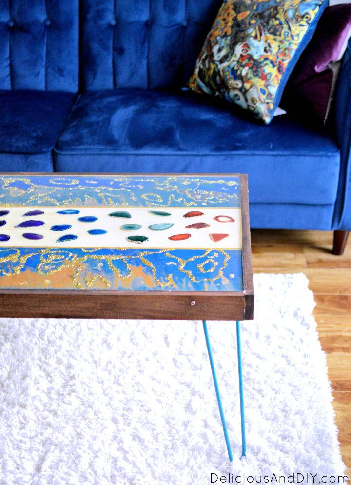 Marbled Resin Wood Coffee Table