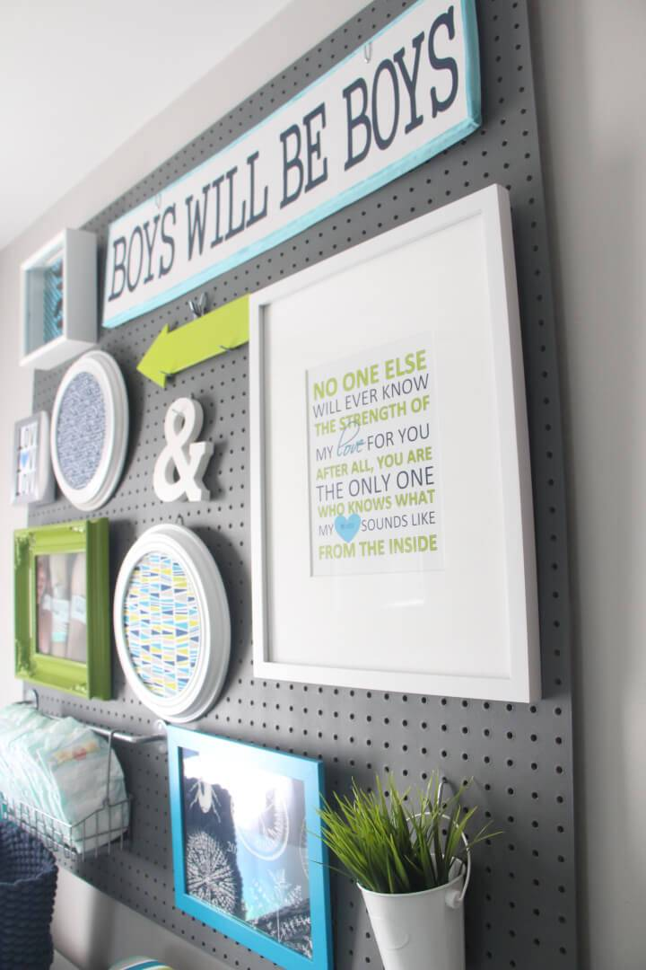 Pegboard Gallery Wall for Nursery Room