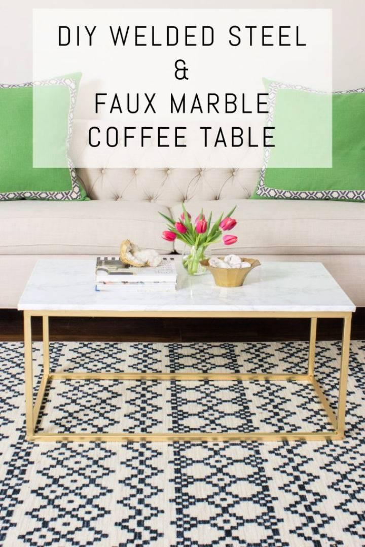 Welded Steel Faux Marble Coffee Table