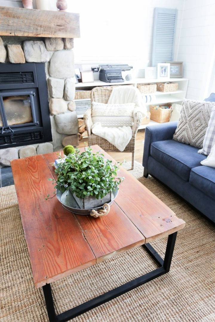 Wooden Coffee Table With Faux Metal Base