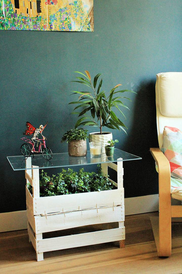 Wooden Crates and Plexiglass Coffee Table