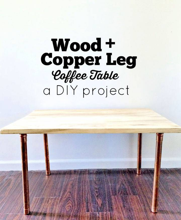 Wooden and Copper Leg Coffee Table
