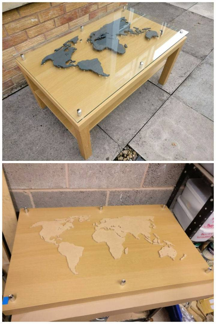 World Map Coffee Table with Glass Top