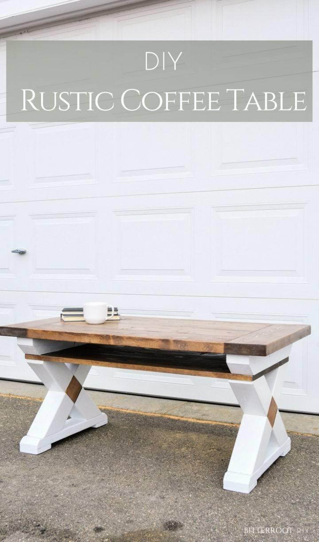X Leg Coffee Table with Shelf