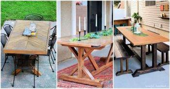 14 Free Farmhouse DIY Outdoor Dining Table Plans
