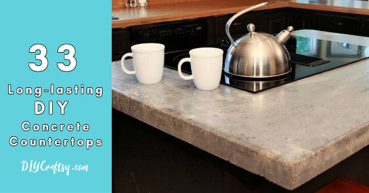 33 Long lasting DIY Concrete Countertops