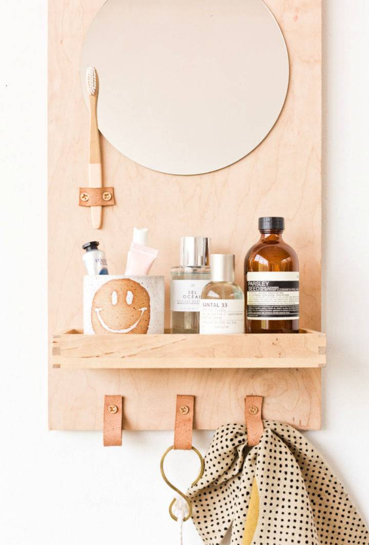 DIY Bathroom Organizer With Mirror