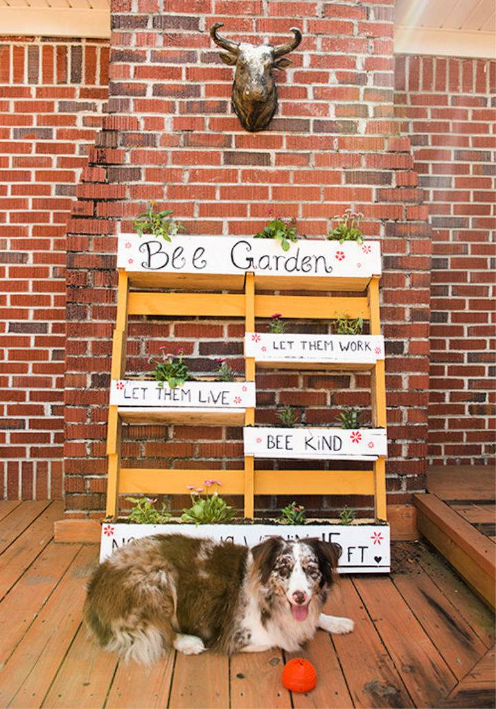 DIY Bee Garden from a Wood Pallet