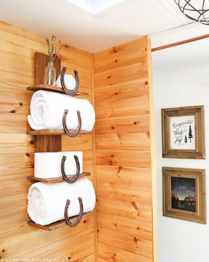 DIY Horseshoe Bathroom Shelf