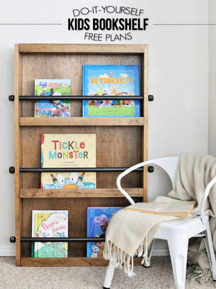 DIY Industrial Kids Bookshelf