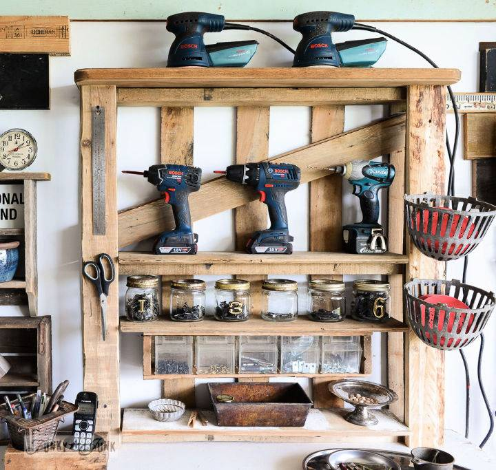 DIY Pallet Tool Shelf