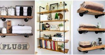 DIY Pipe Shelves Made with Industrial Pipe and Wood