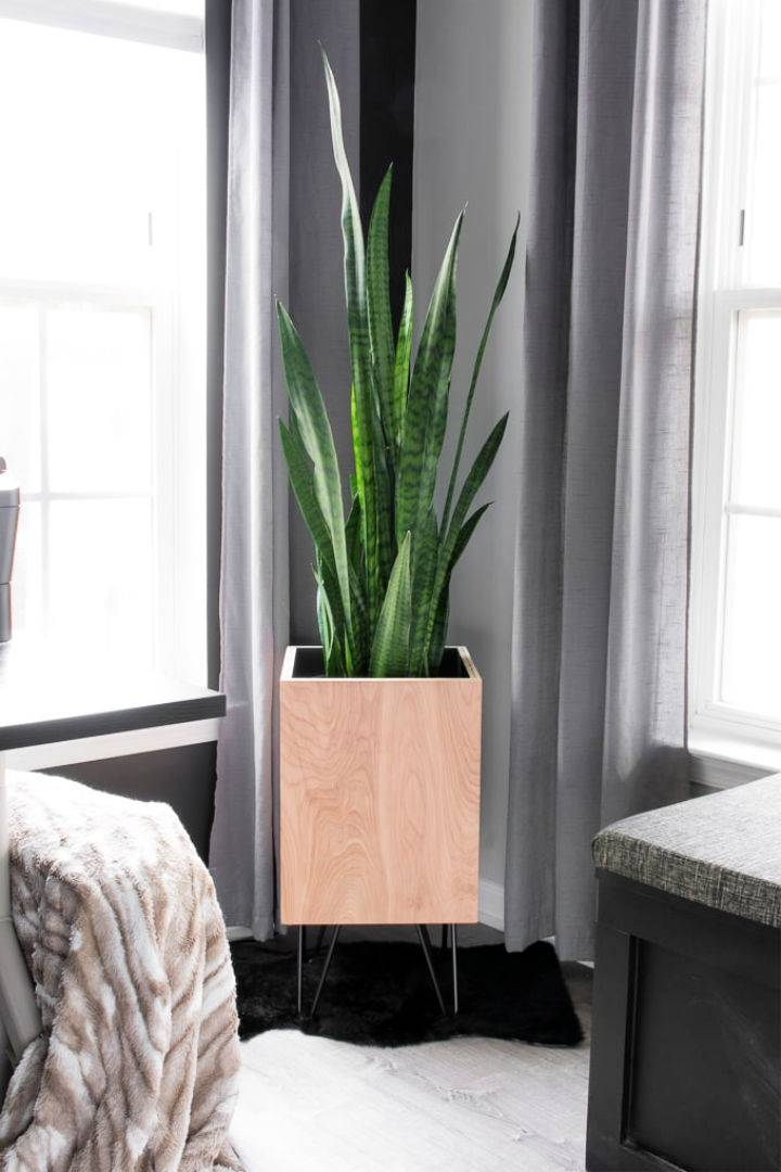DIY Plywood Planter With Hairpin Legs