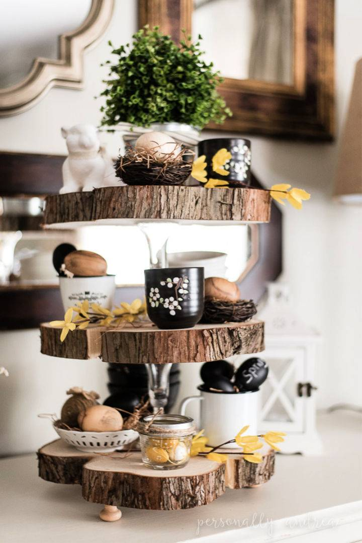 DIY Three Tier Wood Slice Stand