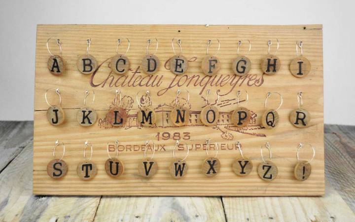 DIY Wood Alphabet Wine Charms