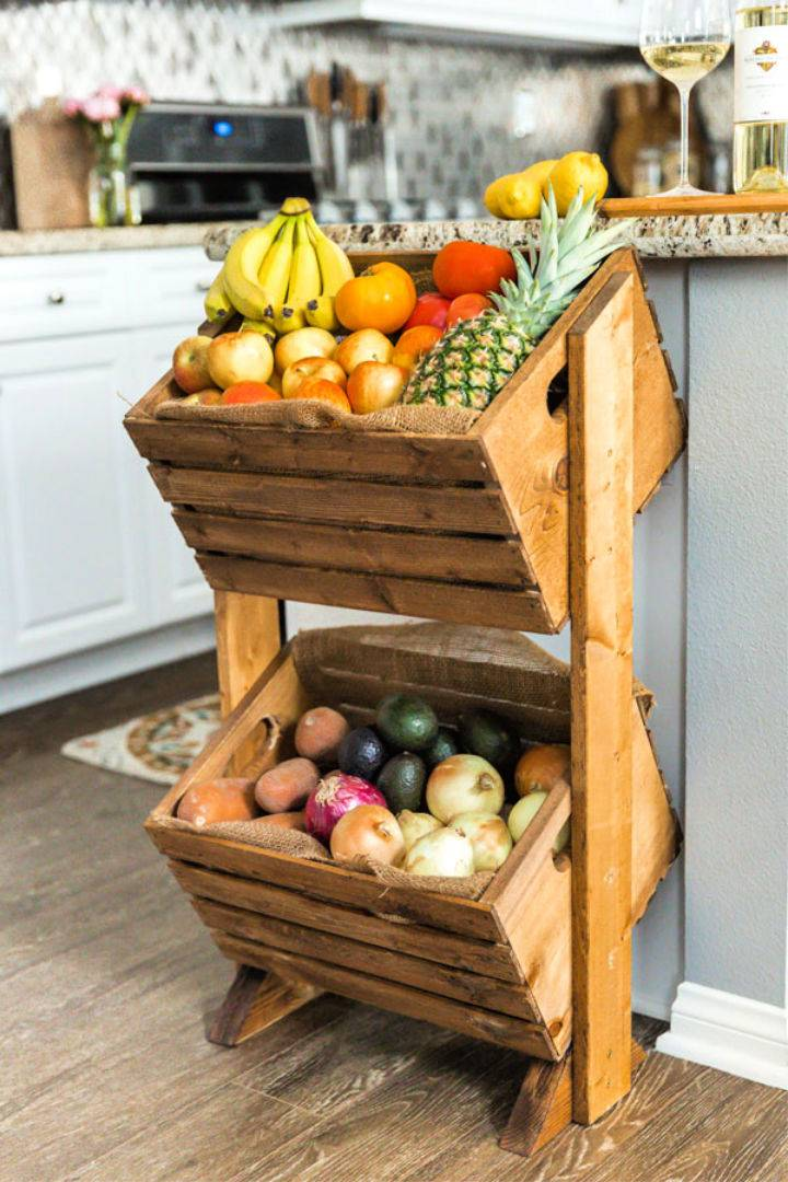 Homemade Two tier Wood Produce Stand