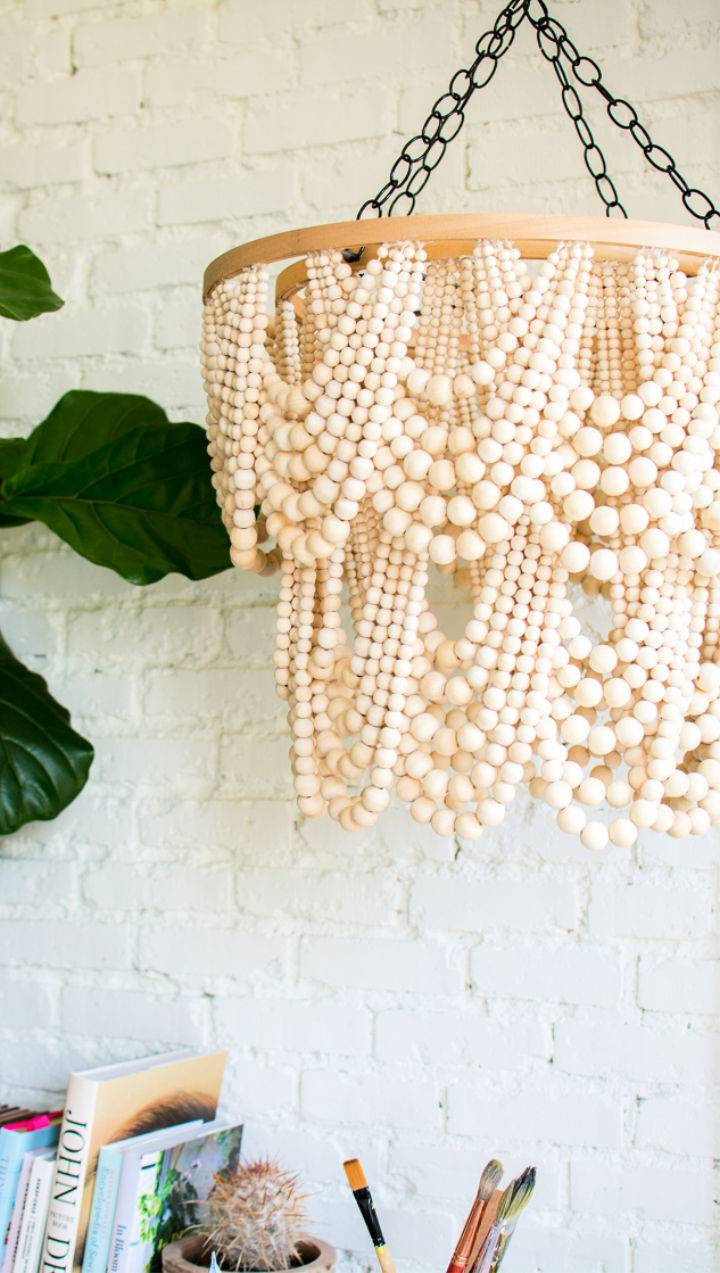 Homemade Wooden Bead Chandelier