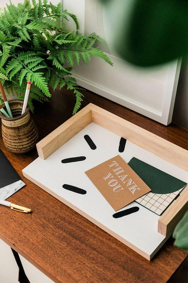 Modern DIY Wood Paper Tray Organizer