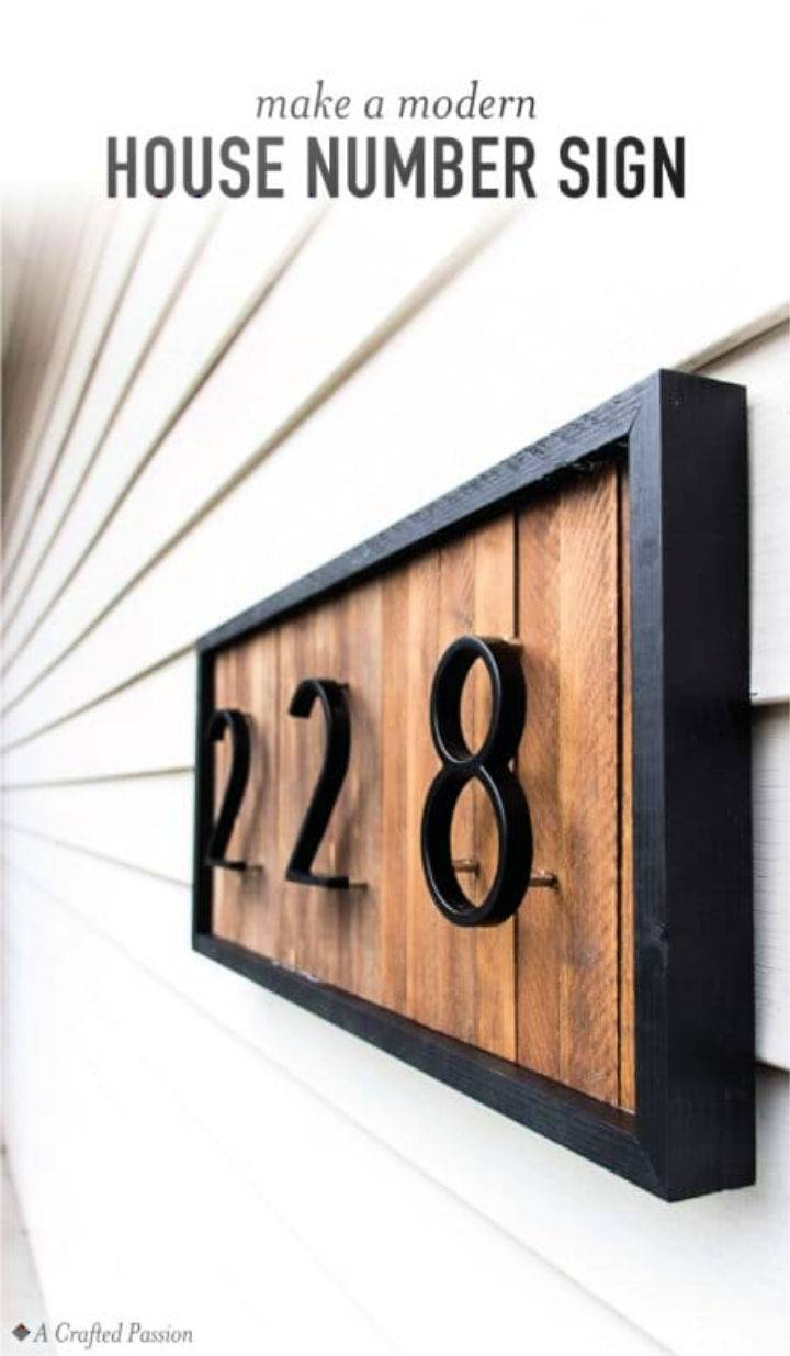 Modern House Number Sign With Wood Shims
