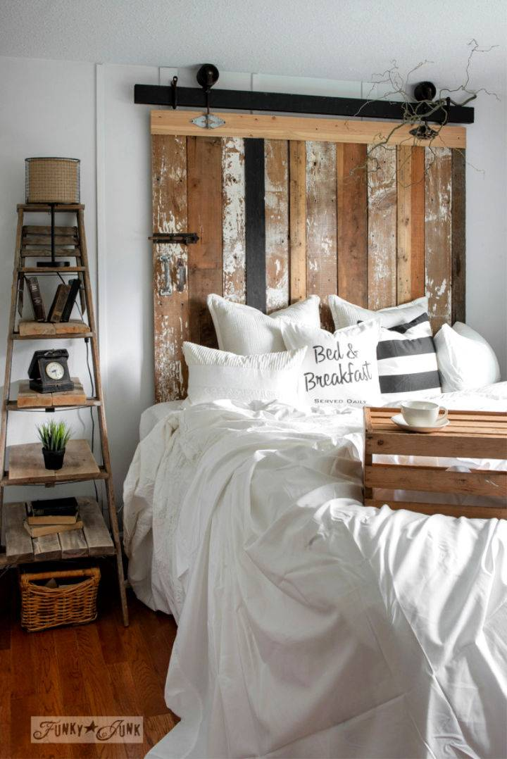 Reclaimed Wood Barn Door Headboard