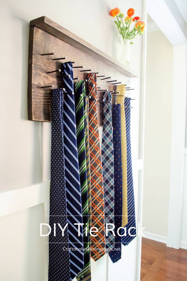 Rustic DIY Wooden Tie Rack