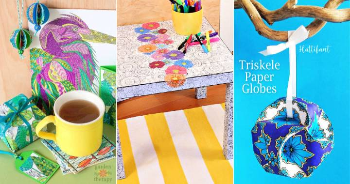 26 DIY Coloring Pages Craft Ideas