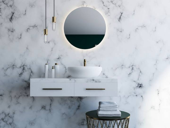 Using the marble effect in your downstairs cloakroom