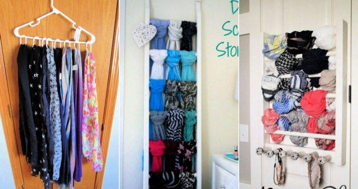 20 DIY Scarf Storage Ideas | How To Store Scarves
