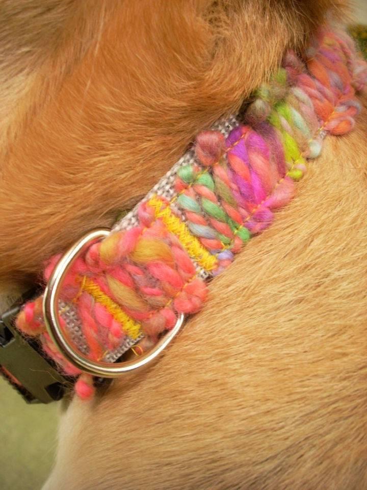 Yarn Appliqued Dog Collar