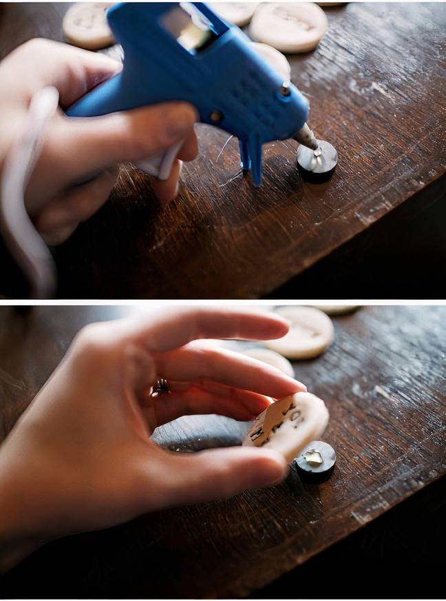 Hot glue your magnets to the dough