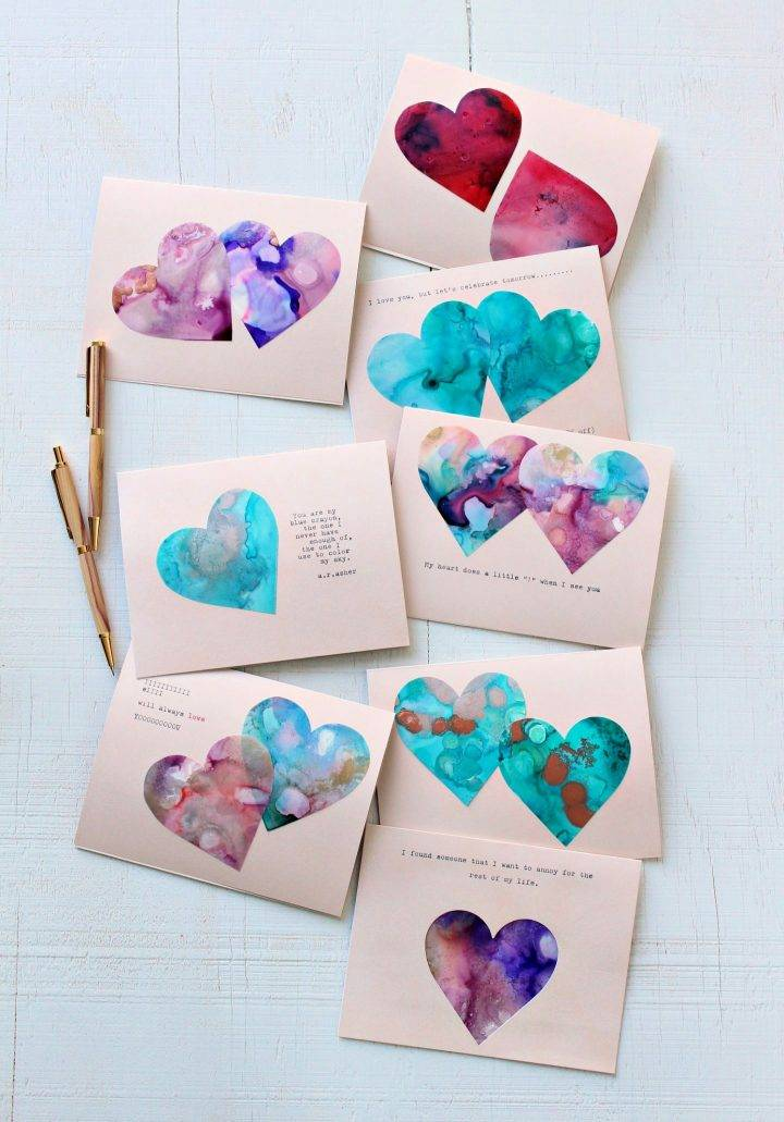Marbled Heart Cards for Valentines Day