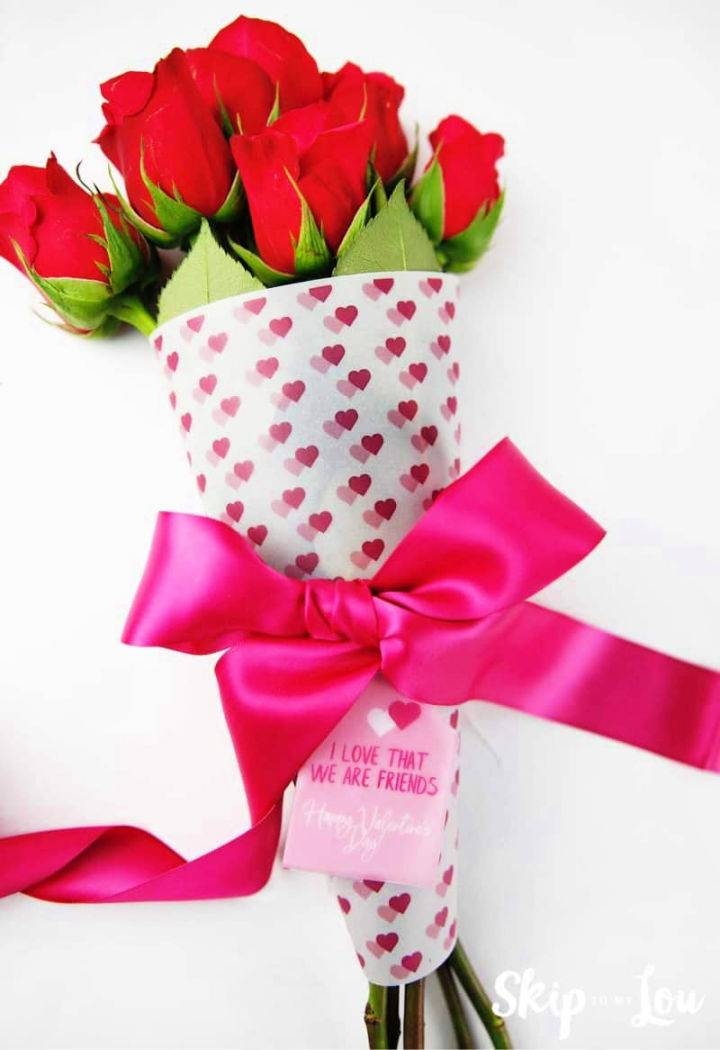 Valentine Printable Flower Bouquet Wrap
