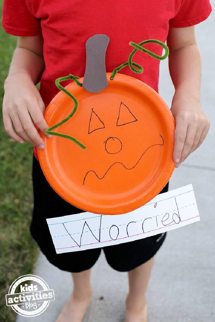Paper Plate Feelings Pumpkins Craft