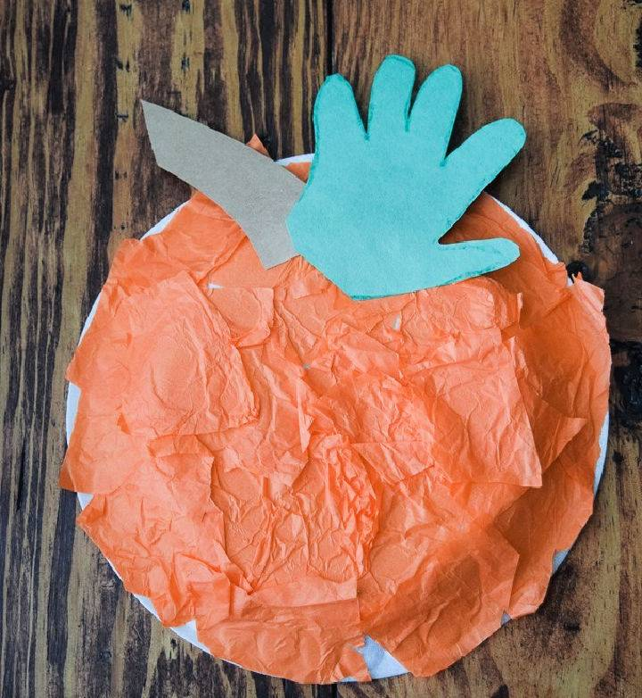 Paper Plate Handprint Pumpkin