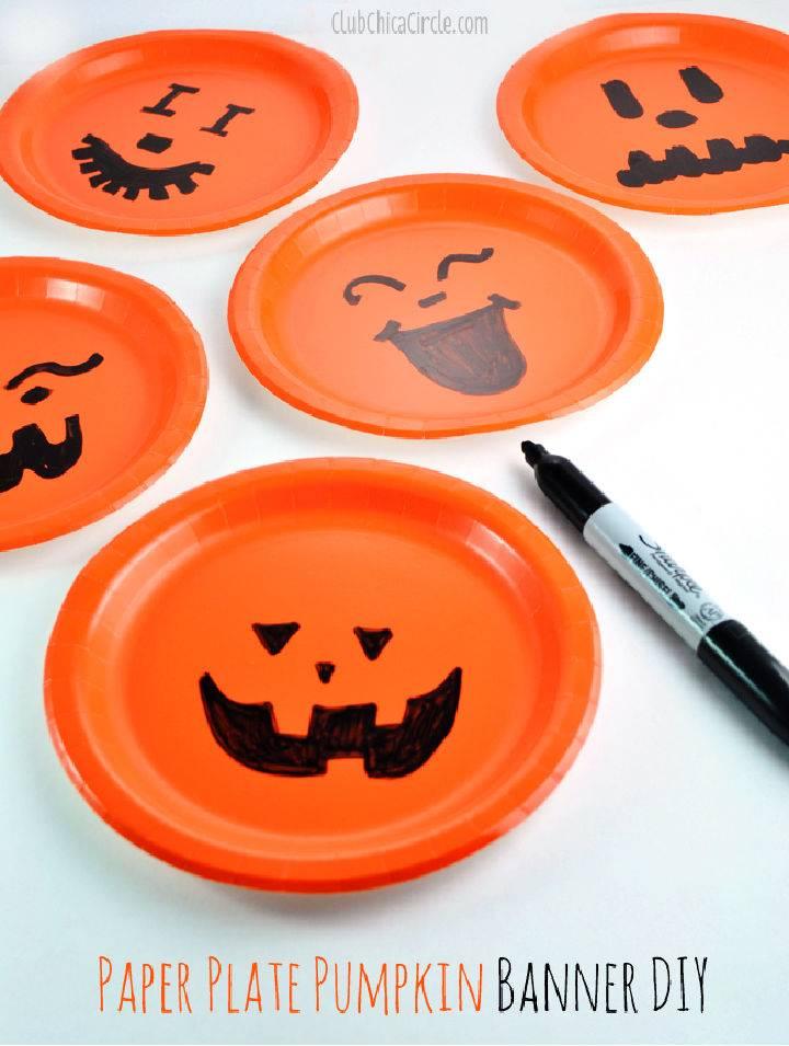 Paper Plate Pumpkin Easy Party Banner DIY