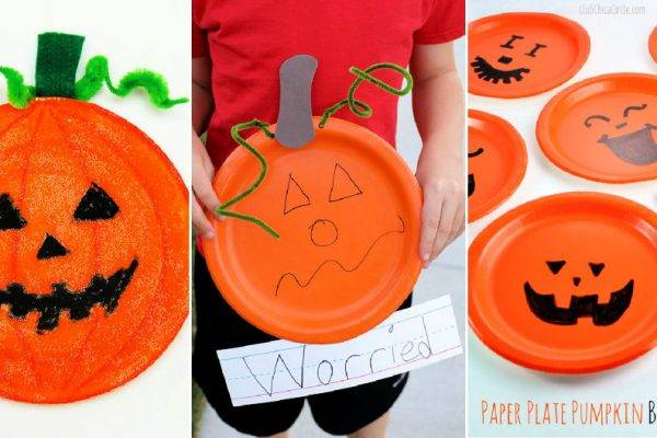 paper plate pumpkins crafts for kids