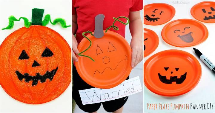 paper plate pumpkins crafts for kids