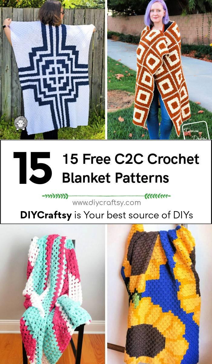 15 free c2c crochet blanket patterns