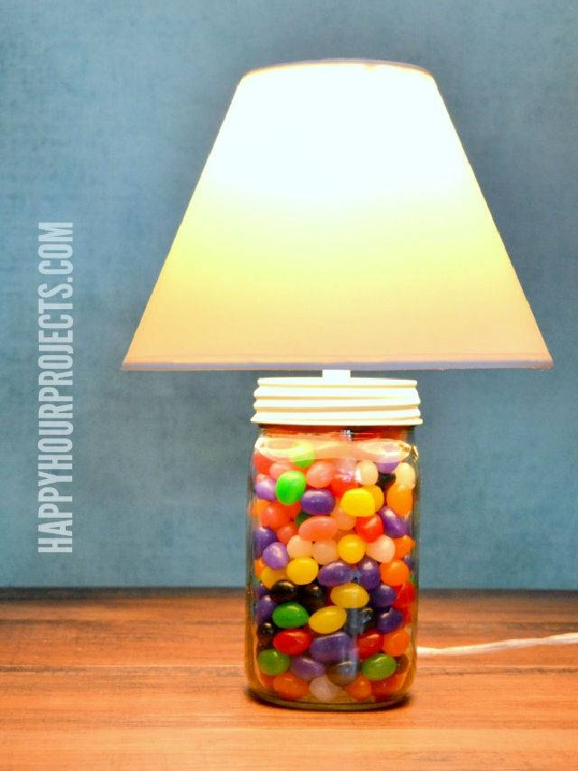2 Minute Mason Jar Jellybean Lamp