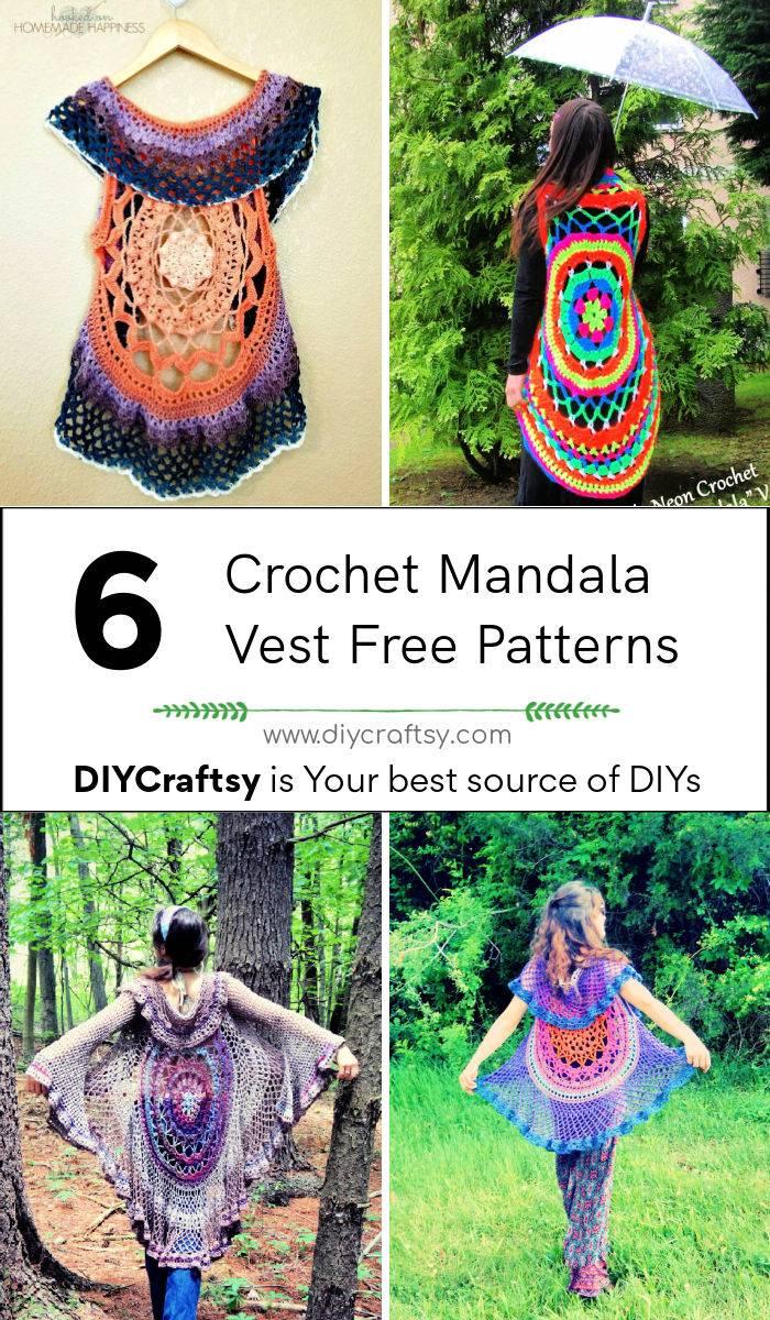 6 Free Crochet Mandala Vest Pattern