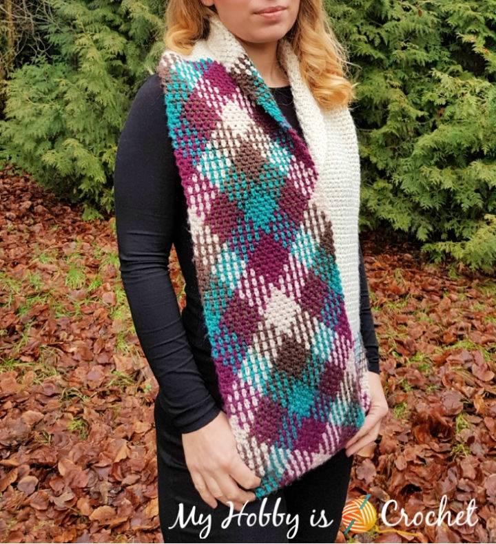 Argyle with a Twist Crochet Infinity Scarf