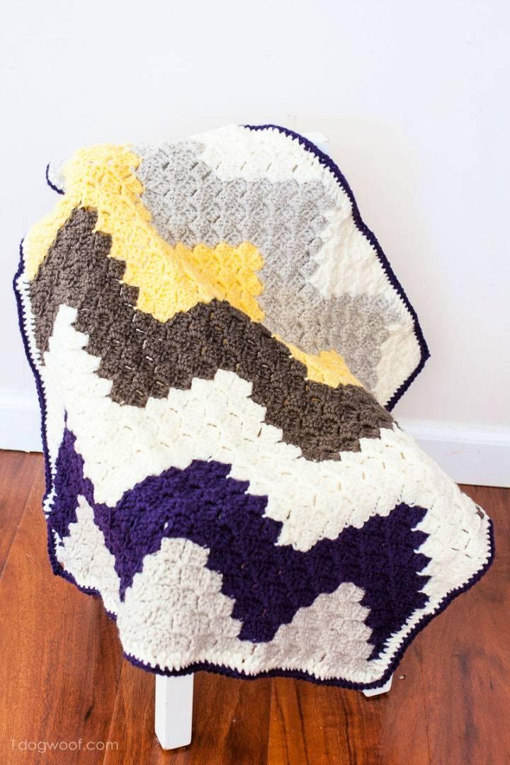 C2C Crochet Chevron Baby Blanket