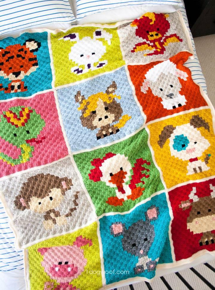 C2C Crochet Zoodiacs Afghan Pattern