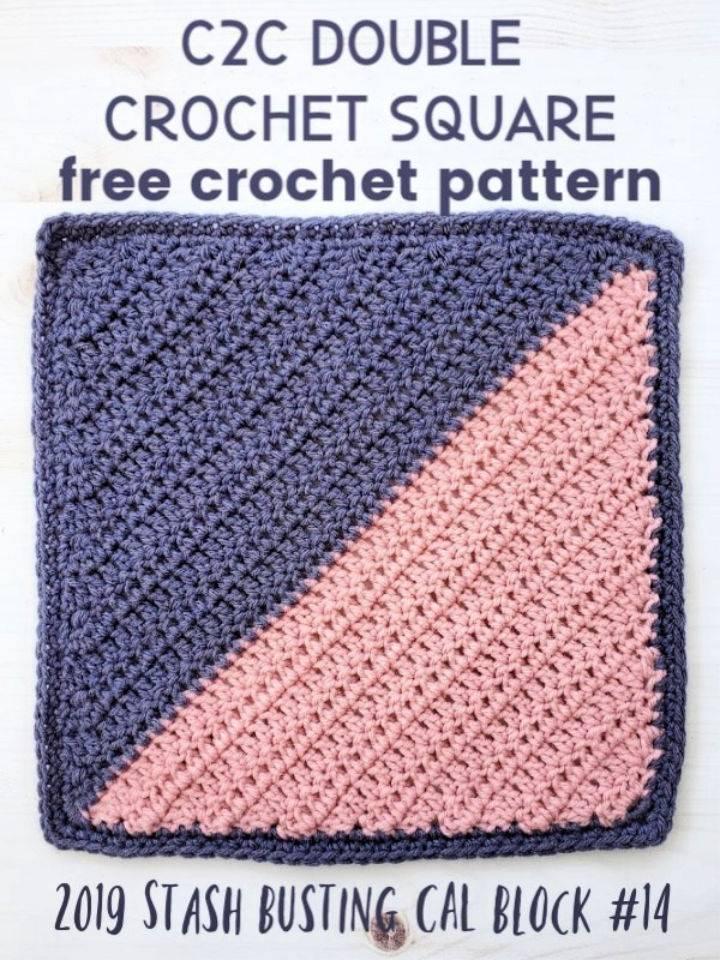 C2C Double Crochet Square Pattern