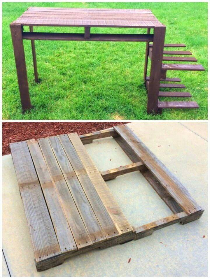 Computer Desk From A Wooden Pallet
