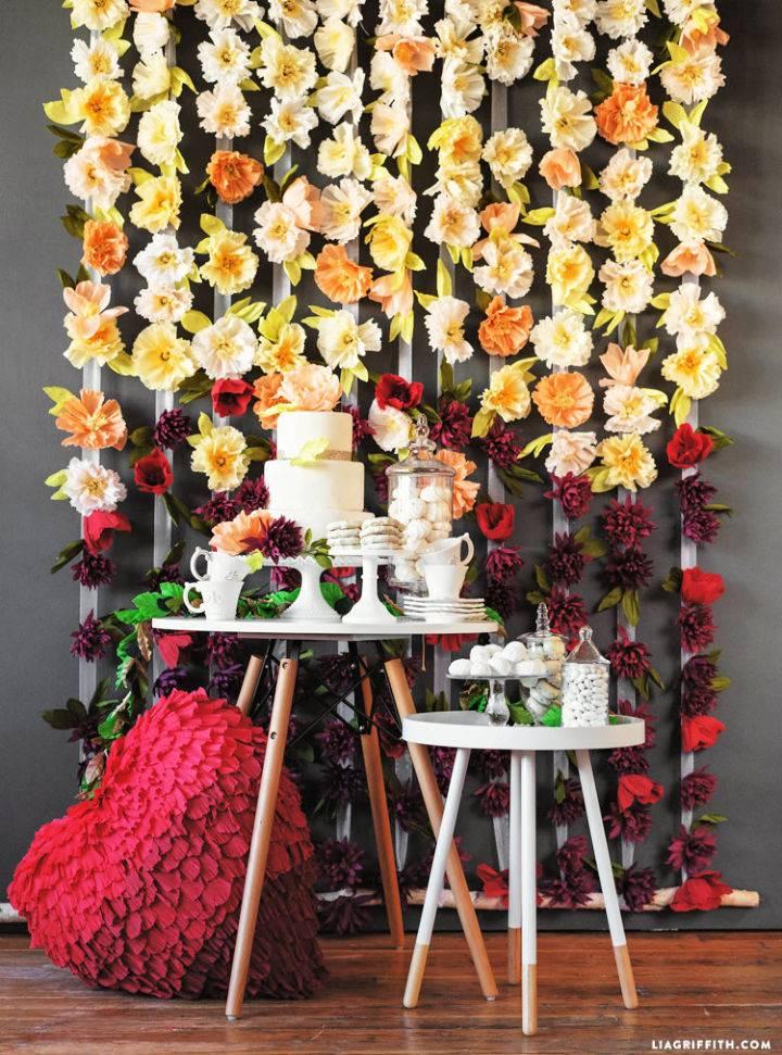 Crepe Flower Wedding Backdrop
