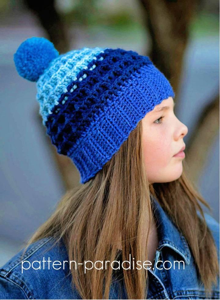 Crochet Alpine Nights Waffle Hat