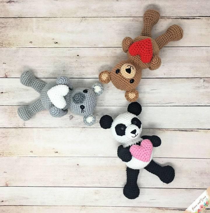 Crochet Amigurumi Koala Pattern with Heart