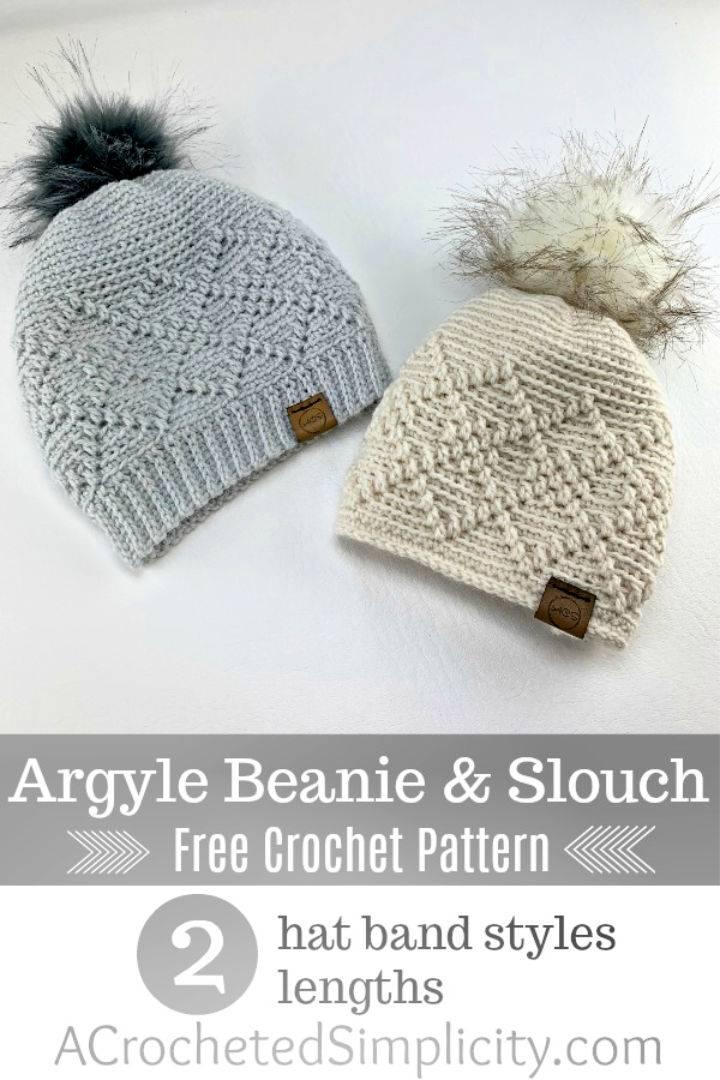 Crochet Argyle Beanie Slouch Hat Pattern